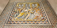 Roman mosaics - Achilles Mosaic.  Ancient Zeugama, 2nd - 3rd century AD . Zeugma Mosaic Museum, Gaziantep, Turkey.   Against an art background.