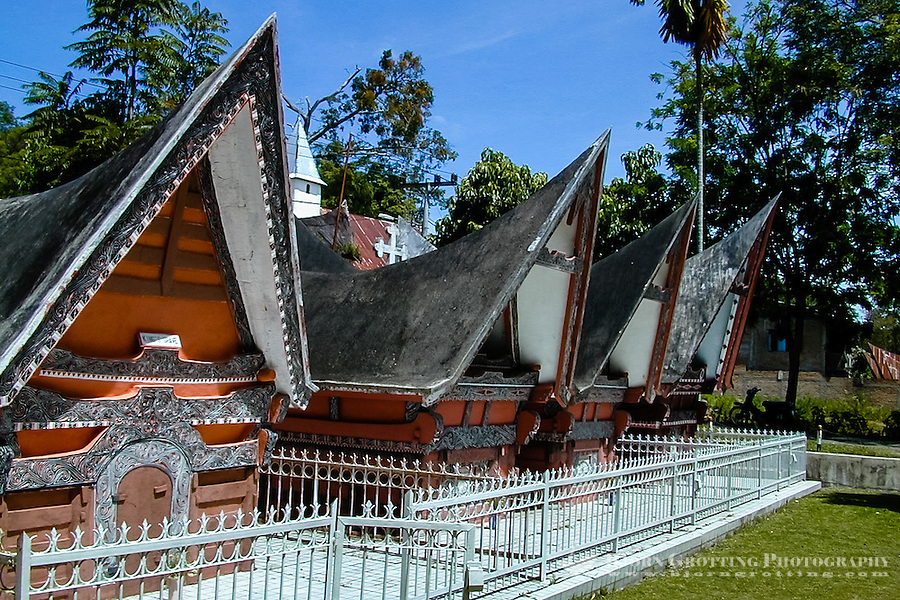 Indonesia, Sumatra. Samosir. Royal graves. The museum in Simanindo were originally the home of the Batak king Rajah Simalungun and his 14 wives.