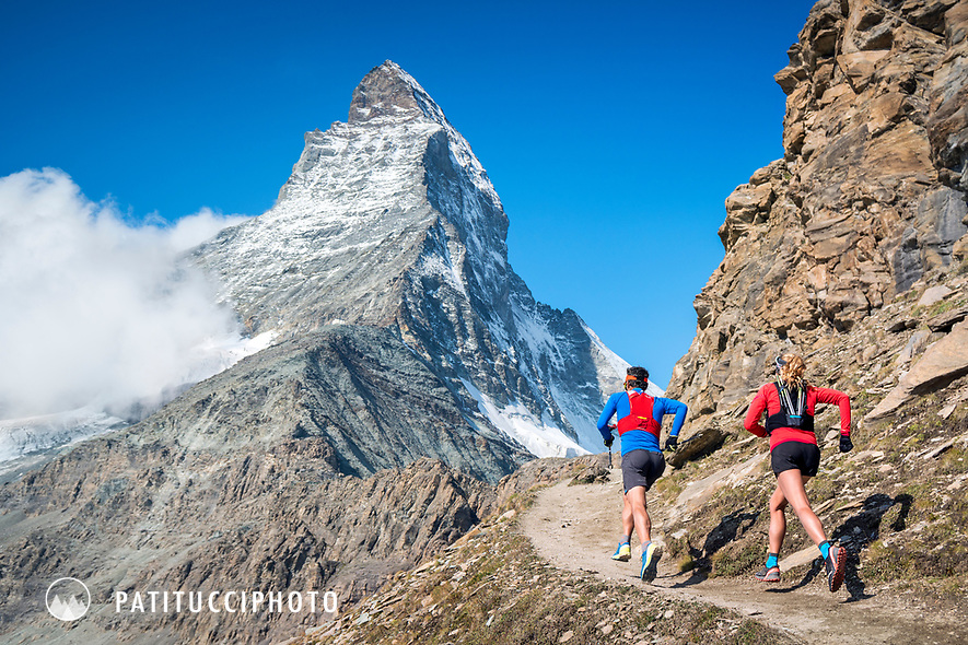 Trail running beneath the Matterhorn, above Zermatt, Switzerland.