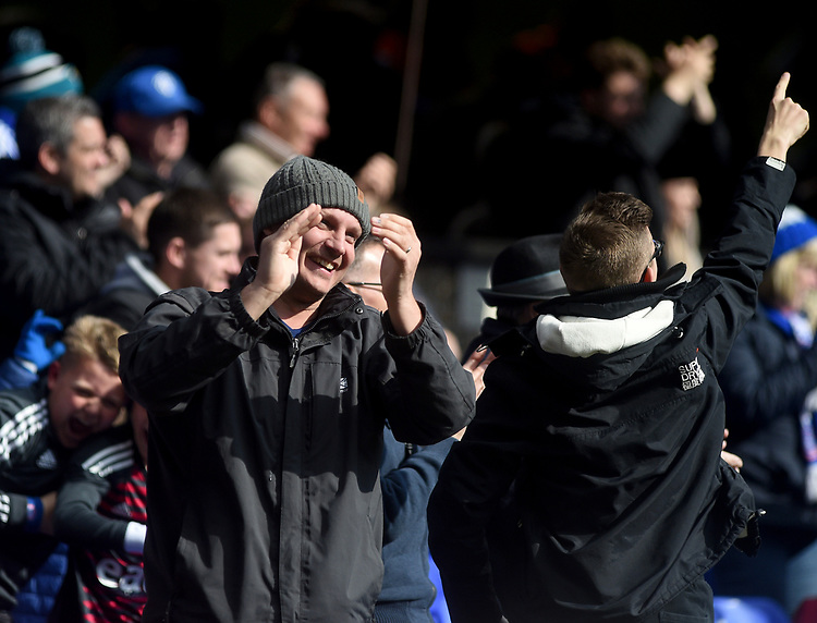 Ipswich town fans celebrate their teams goal <br /> <br /> Photographer Hannah Fountain/CameraSport<br /> <br /> The EFL Sky Bet Championship - Ipswich Town v Birmingham City - Saturday 13th April 2019 - Portman Road - Ipswich<br /> <br /> World Copyright © 2019 CameraSport. All rights reserved. 43 Linden Ave. Countesthorpe. Leicester. England. LE8 5PG - Tel: +44 (0) 116 277 4147 - admin@camerasport.com - www.camerasport.com