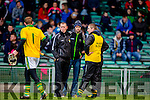 Ciaran Carey  Kerry manager in consolidation with his backroom team as Kerry keeper Aidan McCabe leaves the team at half time against  Limerick during their Munster cup clash  in the Gaelic Grounds on Sunday