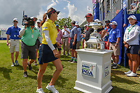 So Yeon Ryu (KOR) walks past the trophy enroute to hole number 18 for the first playoff hole following round 4 of the 2018 KPMG Women's PGA Championship, Kemper Lakes Golf Club, at Kildeer, Illinois, USA. 7/1/2018.<br /> Picture: Golffile | Ken Murray<br /> <br /> All photo usage must carry mandatory copyright credit (&copy; Golffile | Ken Murray)