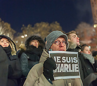 "Hundreds of people gather in Union Square in New York on Wednesday, January 7, 2014 in a vigil to protest the terrorist attack and murder in the Paris headquarters of Charlie Hebdo, a satirical magazine. The crowds stood in near silence holding placards with the words ""Je Suis Charlie"" (I Am C harlie). Twelve people were murdered in the attack, the worst terror attack in Eurpoe since the London bombing of 2005. (© Richard B. Levine)"