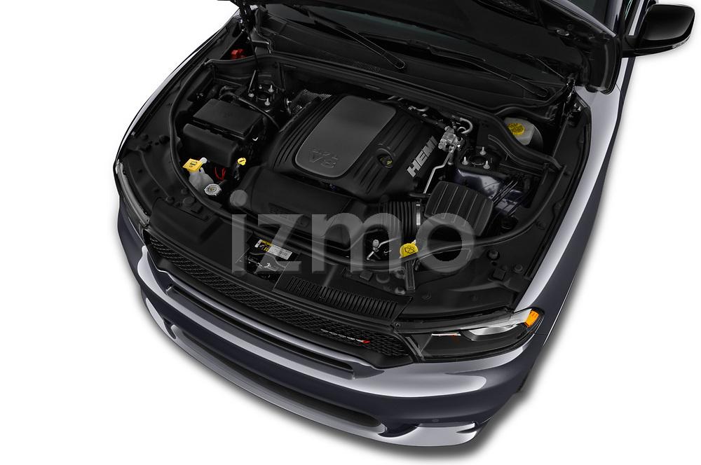 Car stock 2018 Dodge Durango R/T 5 Door SUV engine high angle detail view