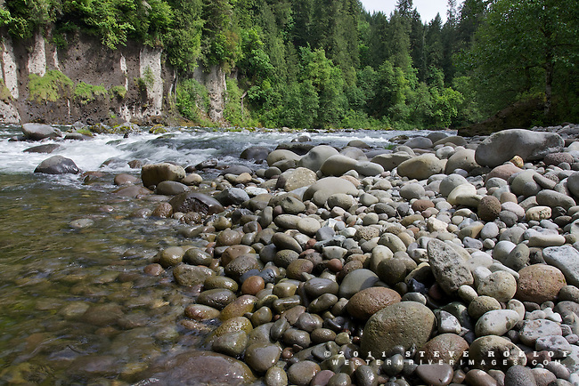 A cobble and boulder bar along the Sandy River, Oregon.