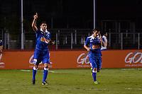 SÃO PAULO, SP, 20 DE JULHO DE 2013 - CAMPEONATO BRASILEIRO - SÃO PAULO x CRUZEIRO: Luan (e) comemora gol do Cruzeiro durante partida São Paulo x Cruzeiro, válida pela 8ª rodada do Campeonato Brasileiro de 2013, disputada no estádio do Morumbi em São Paulo. FOTO: LEVI BIANCO - BRAZIL PHOTO PRESS.