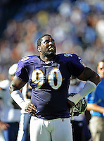 Sep. 20, 2009; San Diego, CA, USA; Baltimore Ravens defensive end (90) Trevor Pryce against the San Diego Chargers at Qualcomm Stadium in San Diego. Baltimore defeated San Diego 31-26. Mandatory Credit: Mark J. Rebilas-