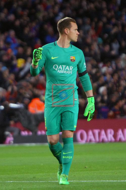 League Santander 2016/2017. Game: 30.<br /> FC Barcelona vs Sevilla FC: 3-0.<br /> Marc-Andre Ter Stegen.