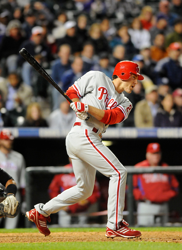 10 MAY 2010: Philadelphia Phillies second baseman Chase Utley hits during a regular season Major League Baseball game between the Colorado Rockies and the Philadelphia Phillies at Coors Field in Denver, Colorado. The Phillies defeated the Rockies 9-5. *****For Editorial Use Only*****