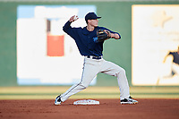 Mobile BayBears second baseman Hutton Moyer (11) throws to first base during a game against the Pensacola Blue Wahoos on April 25, 2017 at Hank Aaron Stadium in Mobile, Alabama.  Mobile defeated Pensacola 3-0.  (Mike Janes/Four Seam Images)