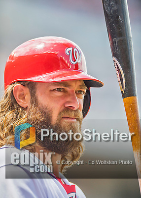 14 May 2016: Washington Nationals outfielder Jayson Werth stands on deck during the first game of a double-header against the Miami Marlins at Nationals Park in Washington, DC. The Nationals defeated the Marlins 6-4 in the afternoon matchup.  Mandatory Credit: Ed Wolfstein Photo *** RAW (NEF) Image File Available ***
