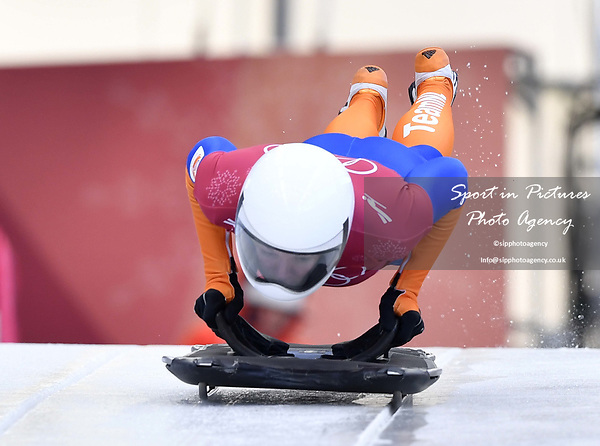 Kimberley Bos (NED). Skeleton training. Alpensia sliding centrePyeongchang2018 winter Olympics. Alpensia. Republic of Korea. 13/02/2018. ~ MANDATORY CREDIT Garry Bowden/SIPPA - NO UNAUTHORISED USE - +44 7837 394578