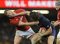 Scotland's Hamish Watson palms off Wales' Ross Moriarty<br /> <br /> Photographer Ian Cook/CameraSport<br /> <br /> Under Armour Series Autumn Internationals - Wales v Scotland - Saturday 3rd November 2018 - Principality Stadium - Cardiff<br /> <br /> World Copyright &copy; 2018 CameraSport. All rights reserved. 43 Linden Ave. Countesthorpe. Leicester. England. LE8 5PG - Tel: +44 (0) 116 277 4147 - admin@camerasport.com - www.camerasport.com