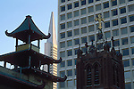 Variety of architechtural styles seen in downtown San Francisco, California