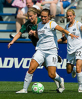 Los Angeles Sol forward Brittany Bock (11) blocks out St Louis Athletica Elise Weber (12) during a WPS match at Hermann Stadium,  in St. Louis, MO, April 25 2009. The match ended in a 0-0 tie.