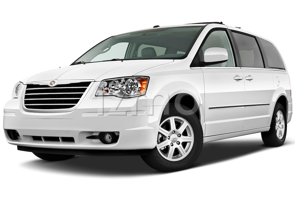 Low aggressive front three quarter view of a 2010 Chrysler Town and Country Touring.