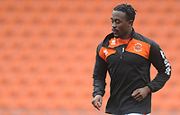 Blackpool's Joe Dodoo during the pre-match warm-up <br /> <br /> Photographer Kevin Barnes/CameraSport<br /> <br /> The EFL Sky Bet League One - Blackpool v Oxford United - Saturday 23rd February 2019 - Bloomfield Road - Blackpool<br /> <br /> World Copyright © 2019 CameraSport. All rights reserved. 43 Linden Ave. Countesthorpe. Leicester. England. LE8 5PG - Tel: +44 (0) 116 277 4147 - admin@camerasport.com - www.camerasport.com