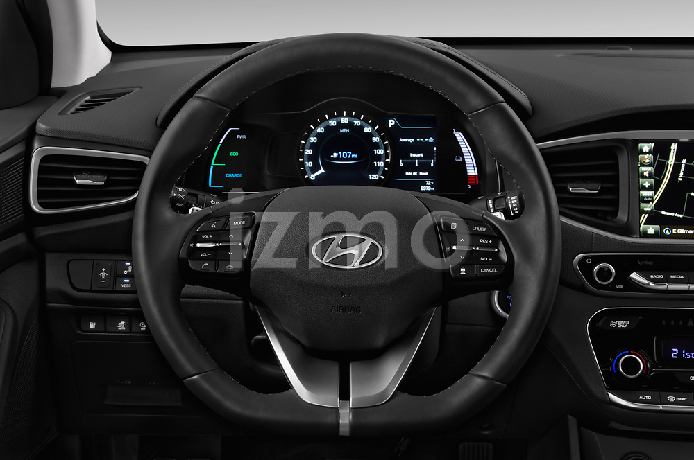 Car pictures of steering wheel view of a 2017 Hyundai Ioniq-Electric Electric-Limited 5 Door Hatchback Steering Wheel