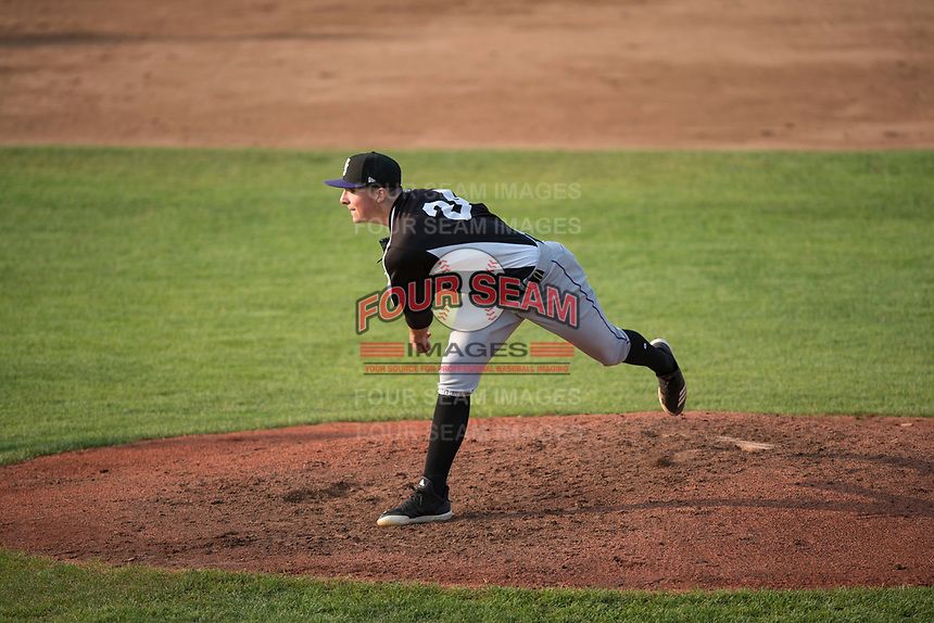 Grand Junction Rockies starting pitcher Ryan Rolison (24) follows through on his delivery during a Pioneer League game against the Missoula Osprey at Ogren Park Allegiance Field on August 21, 2018 in Missoula, Montana. The Missoula Osprey defeated the Grand Junction Rockies by a score of 2-1. (Zachary Lucy/Four Seam Images)