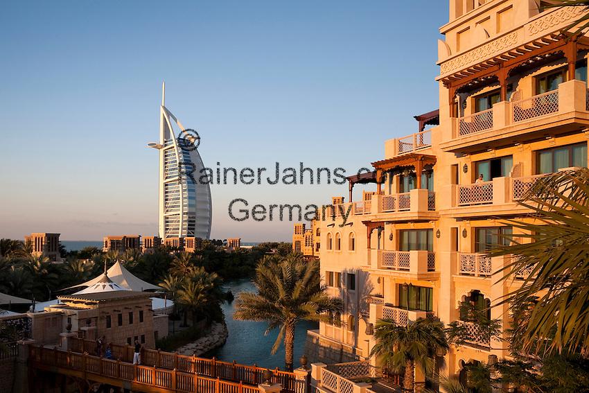 United Arab Emirates, Dubai: View from Al Qasr Hotel over Madinat Jumeriah and Burj al Arab at sunset