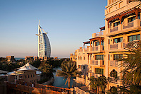 United Arab Emirates, Dubai: View from Al Qasr Hotel over Madinat Jumeriah and Burj al Arab at sunset