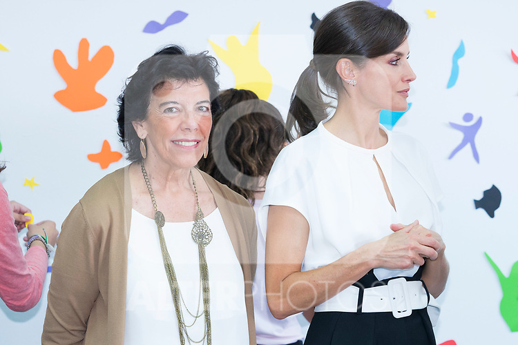 Education Minister Isabel Celaa (l) and Queen Letizia of Spain during the opening of School Year in Torrejoncillo (Caceres). September 17, 2019. (ALTERPHOTOS/Francis Gonzalez)