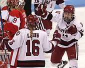 Lexie Laing (Harvard - 16), Kate Hallett (Harvard - 14) - The Harvard University Crimson tied the Boston University Terriers 6-6 on Monday, February 7, 2017, in the Beanpot consolation game at Matthews Arena in Boston, Massachusetts.
