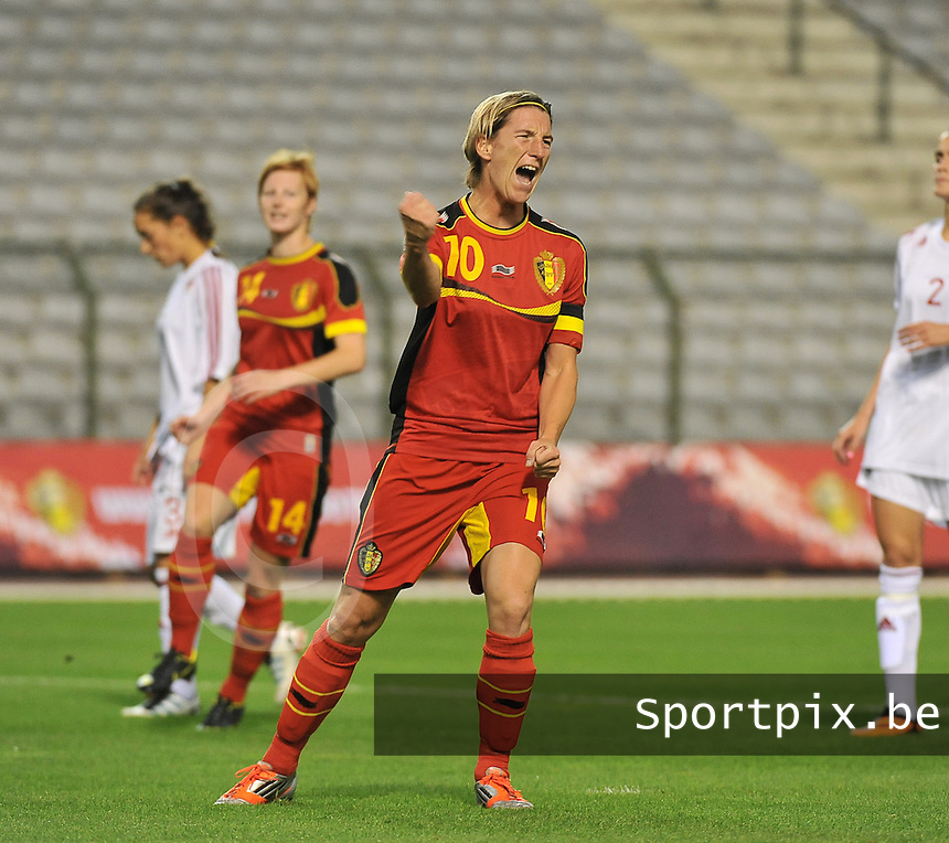 20130921 - BRUSSELS , BELGIUM :  Aline Zeler pictured celebrating her penaltygoal ; 2-0  pictured during the female soccer match between Belgium and Albania , on the first matchday in group 5 of the UEFA qualifying round to the FIFA Women World Cup in Canada 2015 at the Koning Boudewijn Stadion , Brussels . Saturday 21th September 2013. PHOTO DAVID CATRY