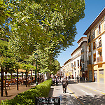 Historic buildings and restaurants, Paseo del Padre Manjob, Albaicin, Granada, Spain