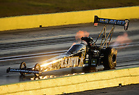 Sept. 21, 2012; Ennis, TX, USA: NHRA top fuel dragster driver Tony Schumacher during qualifying for the Fall Nationals at the Texas Motorplex. Mandatory Credit: Mark J. Rebilas-US PRESSWIRE