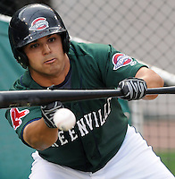 April 2, 2008: Infielder Aaron Reza (5) of the Greenville Drive, Class A affiliate of the Boston Red Sox, during Media Day at Fluor Field at the West End in Greenville, S.C. Photo by:  Tom Priddy/Four Seam Images