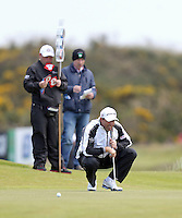 Friday 29th May 2015; Padraig Harrington lines up a birdie putt on the 7th<br /> <br /> Dubai Duty Free Irish Open Golf Championship 2015, Round 2 County Down Golf Club, Co. Down. Picture credit: John Dickson / SPORTSFILE