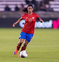 HOUSTON, TX - JANUARY 28: Shirley Cruz #10 of Costa Rica dribbles during a game between Costa Rica and Panama at BBVA Stadium on January 28, 2020 in Houston, Texas.