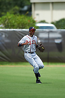 GCL Braves outfielder Isranel Wilson (8) fields a ground ball during a game against the GCL Astros on July 23, 2015 at the Osceola County Stadium Complex in Kissimmee, Florida.  GCL Braves defeated GCL Astros 4-2.  (Mike Janes/Four Seam Images)