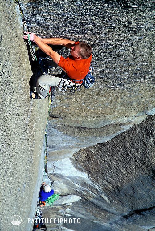 Tommy Caldwell and Nick Sagar free climbing the Muir Wall on Yosemite's El Capitan