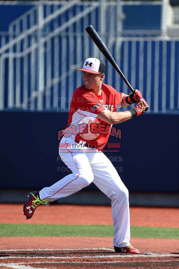 Kody Clemens (2) of Memorial High School in Houston, Texas during the Under Armour All-American Game practice on August 15, 2014 at Les Miller Field in Chicago, Illinois.  (Mike Janes/Four Seam Images)