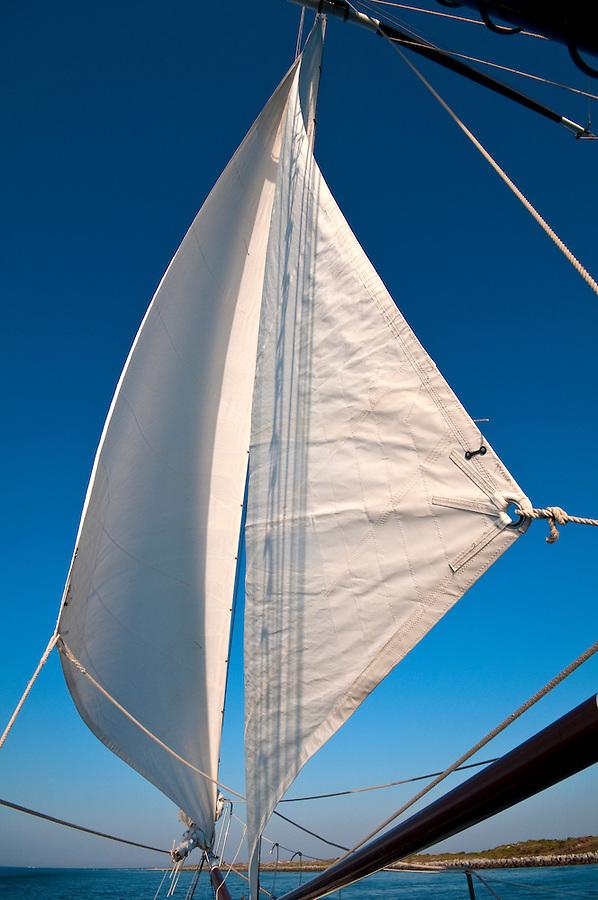Sailboat navigating in the ocean at afternoon.