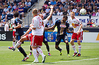 Lionard Pajoy (23) of the Philadelphia Union scores during the first half against the New York Red Bulls during a Major League Soccer (MLS) match at PPL Park in Chester, PA, on May 13, 2012.