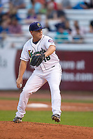 Cedar Rapids Kernels pitcher Kaleb Merck #18 pitches during a game against the Kane County Cougars at Veterans Memorial Stadium on June 8, 2013 in Cedar Rapids, Iowa. (Brace Hemmelgarn/Four Seam Images)