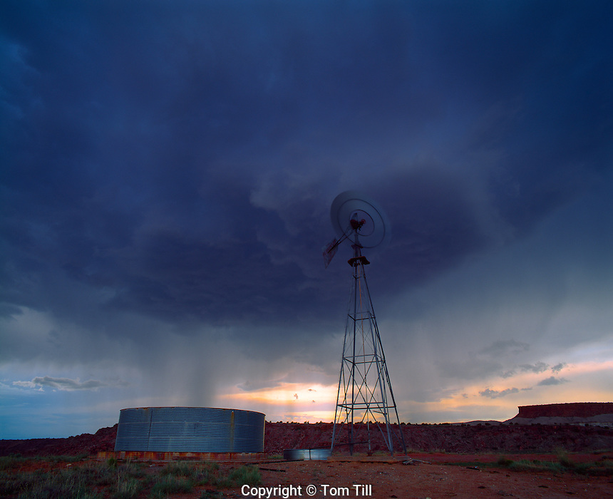 Storm squall and windmill, Laguna Indian Reservation, New Mexixo