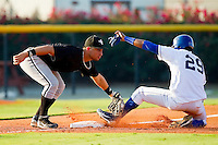 Rangel Ravelo #7 of the Bristol White Sox tags out Jorge Bnoifacio #29 of the Burlington Royals as he tries to steal third base at Burlington Athletic Park on July 10, 2011 in Burlington, North Carolina.  The White Sox defeated the Royals 4-3.   (Brian Westerholt / Four Seam Images)