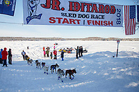 Chandler Wappett crosses the finish of the 2018 Junior Iditarod in second place in Willow, Alaska. Sunday February 25, 2018<br /> <br /> Photo by Jeff Schultz/SchultzPhoto.com  (C) 2018  ALL RIGHTS RESERVED