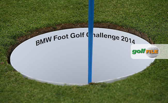 A great hole is dug in the 18th fairway to make a large cup for the BMW Foot Golf Challenge during the Opening Show Event of the BMW International Open 2014 from Golf Club Gut Lärchenhof, Pulheim, Köln, Germany. Picture:  David Lloyd / www.golffile.ie