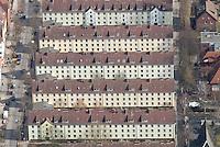 4415/Wilhelmsburg: EUROPA, DEUTSCHLAND, HAMBURG 22.03.2006  Wohnhaeuser in Hamburg Wilhelmsburg,  Faehrstrasse,  Geraer Weg. Wohnen, Wohnungen, Mehrfamilienhaus, Flaechenbedarf, sozialer Wohnungsbau, .Luftbild, Luftansicht