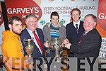 Pictured at the Launch of the Kerry GAA Football and Hurling Championships and announcement of Garvey's Supervalu as Sponsor at the County board offices on Mondat night,.Front from left: Michael Boyle, Ballyduff, Kerry Hurling Captain, Tomas Garvey, Garvey's, Brian Looney, Dr Crokes Captain, County Champions, Colm Cooper, Kerry Captain and Jerome Conway Chairman Kerry County Board..