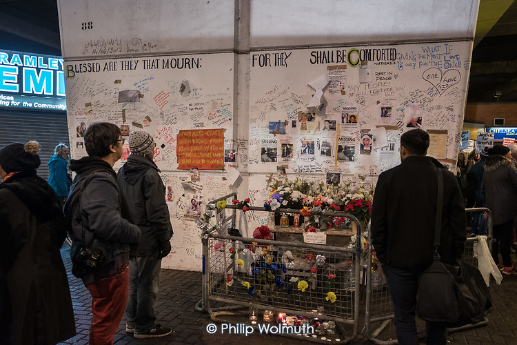 Memorial wall, Latimer Road.  Monthly silent vigil commemorating the victims of the Grenfell Tower fire, North Kensington, London.