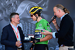 Green Jersey leader Wout Van Aert (BEL) Team Jumbo-Visma with Bernard Thevenet (FRA) at sign on before Stage 5 of the Criterium du Dauphine 2019, running 201km from Boen-sur-Lignon to Voiron, France. 13th June 2019.<br /> Picture: ASO/Alex Broadway | Cyclefile<br /> All photos usage must carry mandatory copyright credit (© Cyclefile | ASO/Alex Broadway)