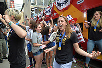 New York City, NY., - Friday, July 10, 2015: The US Women's National Soccer team celebrate their 2015 FIFA World Cup victory with a ticker tape parade along Broadway's, The Canyon of Heroes.