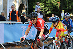 The peloton including Angelika Tazreiter (AUT) on the final circuit of Harrogate during the Women Elite Road Race of the UCI World Championships 2019 running 149.4km from Bradford to Harrogate, England. 28th September 2019.<br /> Picture: Seamus Yore | Cyclefile<br /> <br /> All photos usage must carry mandatory copyright credit (© Cyclefile | Seamus Yore)