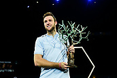 5th November 2017, Paris, France. Rolex Masters mens tennis tournament final;  Jack Sock (USA) winner of the mens singles final with trophy